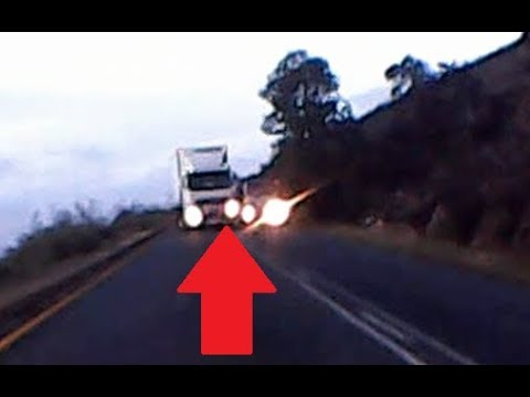 Truck almost cause head on collision