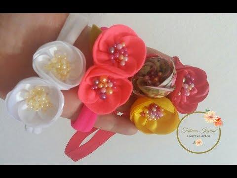 Flor de círculo feita com cetim ou feltro...