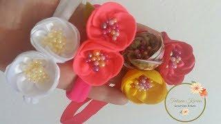 Flor de círculo feita com cetim ou feltro by Tatiana Karina
