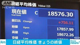 日経平均株価 終値756円高 米NYの死者数減少で(20/04/06)