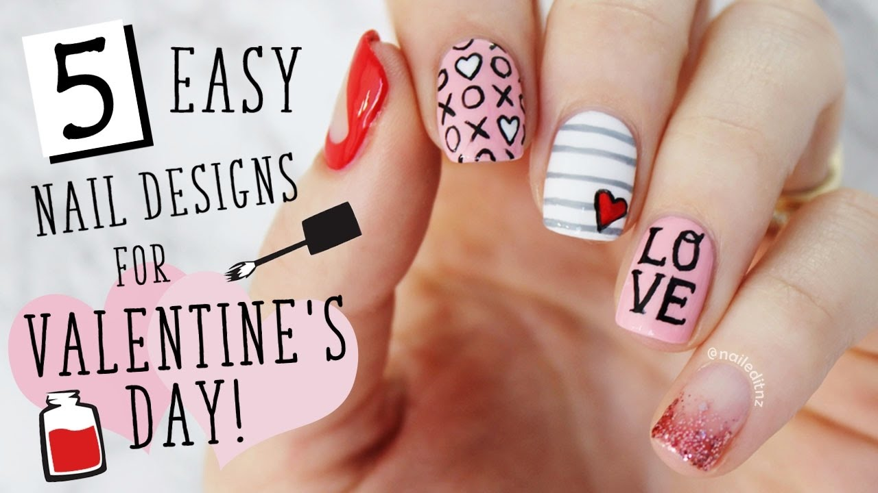 FIVE IN FIVE | Easy Valentine\'s Day Nail Art | Nailed It NZ - YouTube
