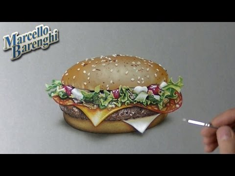 Drawing Time Lapse: McDonald's McFragbite (3 of 5 burgers) – hyperrealistic art
