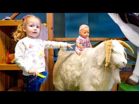 Thumbnail: Funny Baby play with animals on the playground Nursery Rhymes Songs for children, babies and toddler