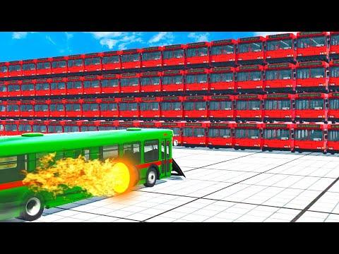 ROCKET Bus vs 100 Buses! DESTRUCTION CHALLANGE!