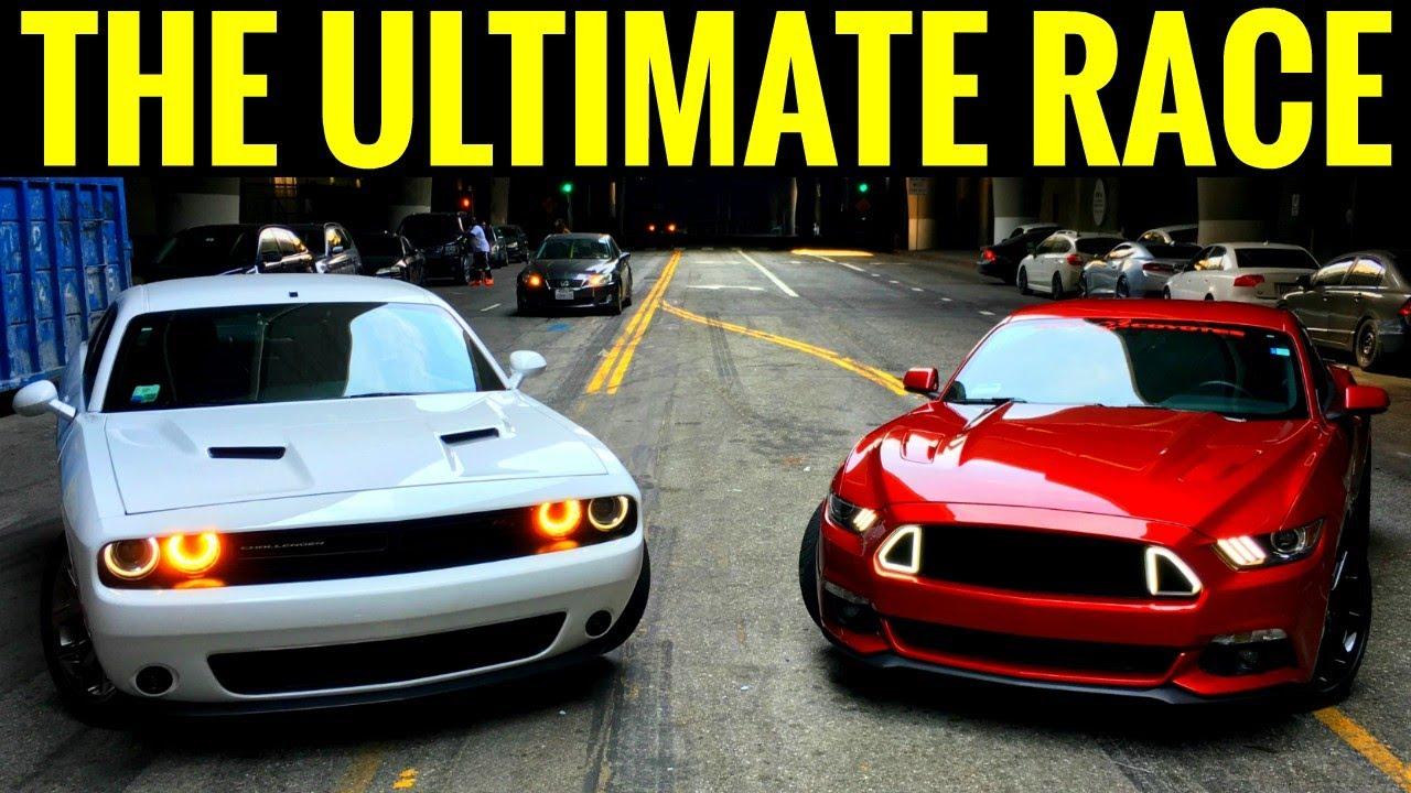 Mustang gt 5 0 vs dodge challenger rt 5 7l street race burnouts