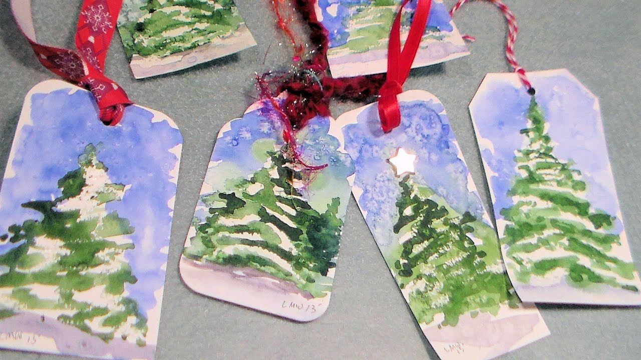 watercolor christmas tree gift tag - YouTube