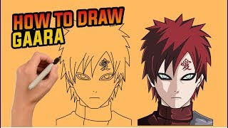 How to draw gaara step by step , easy drawing tutorial