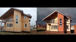 Покрасить осб. Фасад дома из сип панели. Напыляемое пробковое покрытие Нанокорк. Дом после зимы