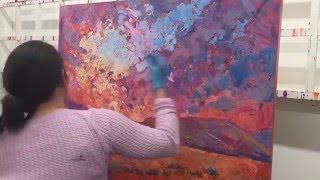 Burning Sun by Erin Hanson | Impressionistic Painting Work in Progress