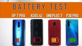 ASUS 6z vs OnePlus 7, 7 Pro vs P30 Pro: Battery Charging | Battery Drain Comparison [Hindi]