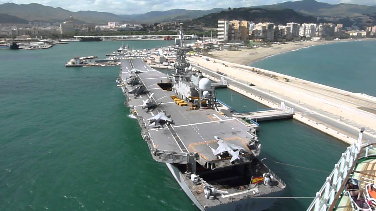 Aircraft Carrier docked in Malaga (Principe de Asturias ...Spanish Aircraft Carrier
