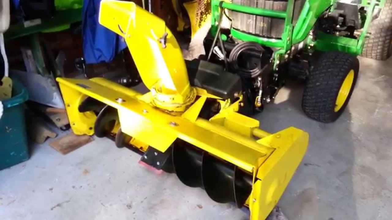 "How to attach a 46"" John Deere snow thrower Single stage"