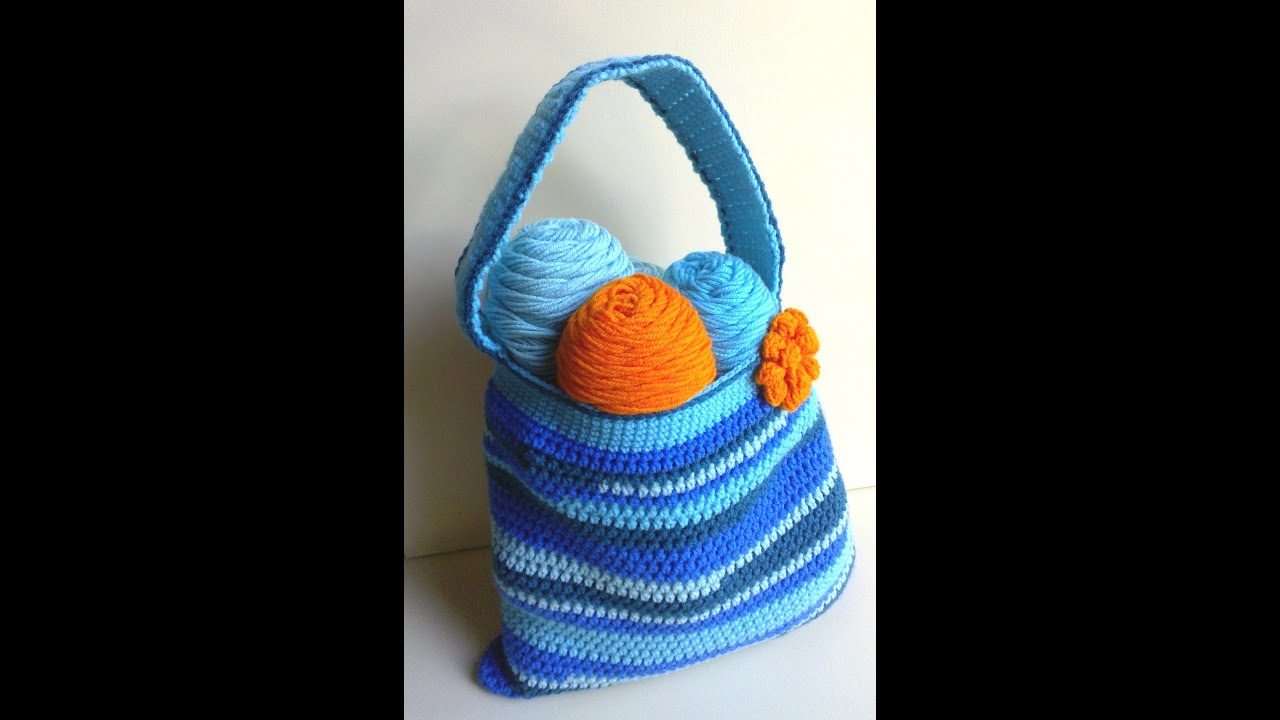 Crochet Tote Bag Tutorial Part 1 : Scraptastic Bag Part 1 of 2 Crochet Tutorial - YouTube