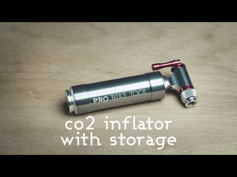CO2 Inflator: PRO BIKE TOOL CO2 Inflator with Storage Canister In Focus