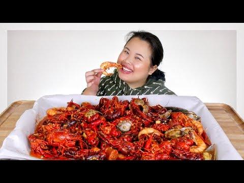 MUKBANG SEAFOOD BOIL! 먹방 (EATING SHOW!) GIANT SHRIMP + MUSSELS + CRAWFISH + CLAMS