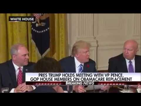 President Trump Holds Meeting With VP Pence,GOP House Member On Obamacare Replacement