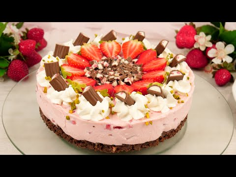 Yogurette Erdbeer Torte ohne Backen I No Bake Erdbeertorte