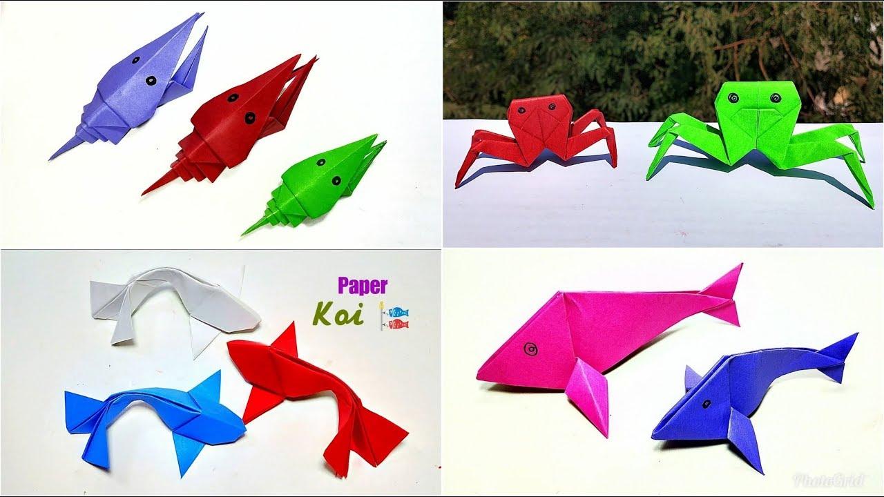 4 Easy Paper Sea Animals Origami Sea Animals Diy