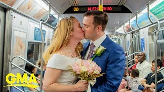The next stop is...marriage: Military couple weds on New York City subway | GMA Digital