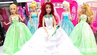 Disney Princess Wedding Dress Up Beautiful Wedding Shop Shopping Barbie Ariel Frozen