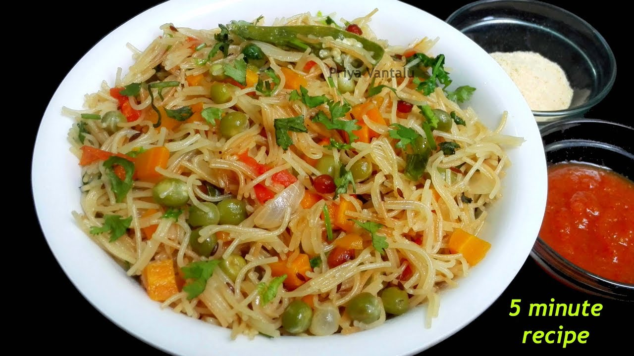 Semiya Upma Recipe Vegetable Vermicelli Upma Quick Breakfast