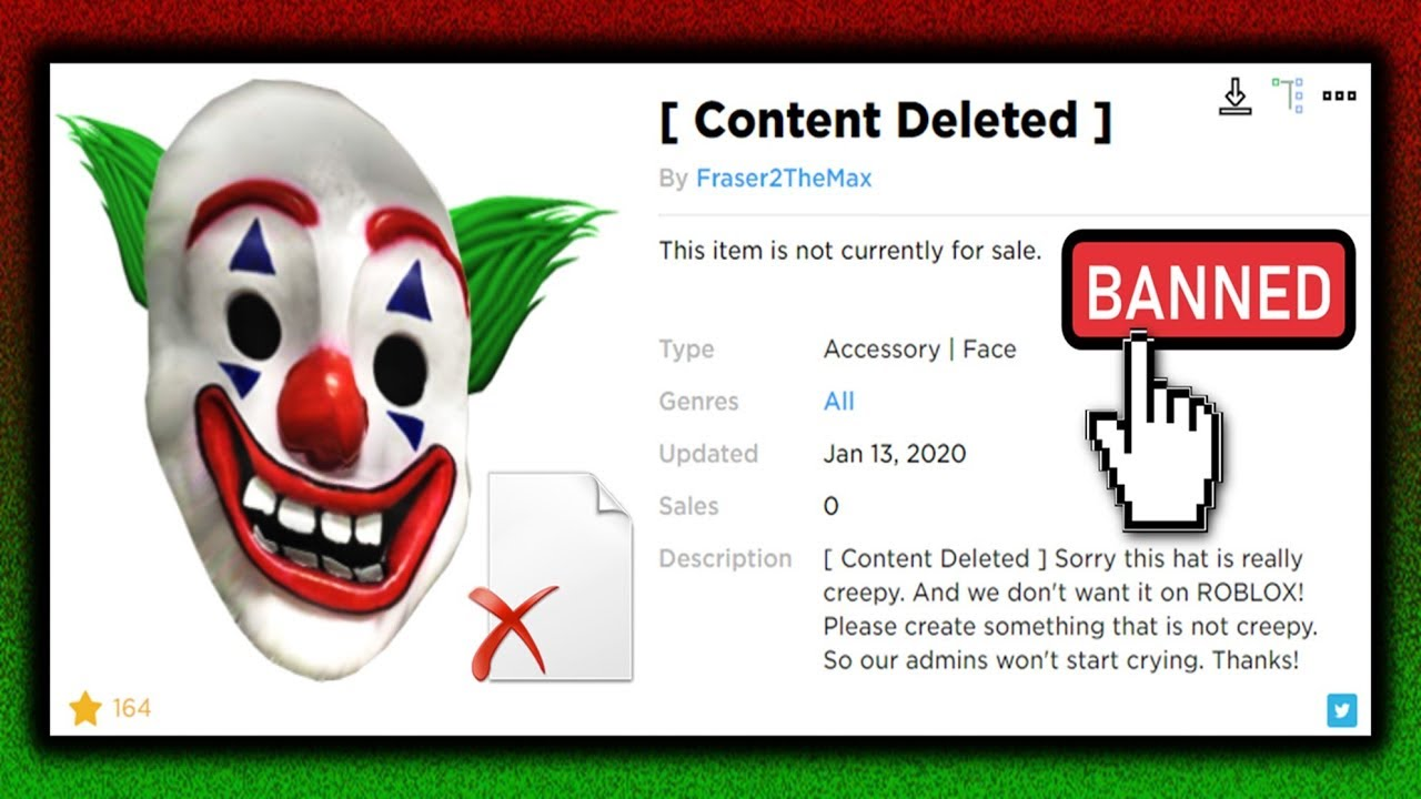 Roblox Joker Face This Ugc Hat Got Banned Content Deleted Youtube