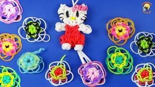 Цветок из резинок Rainbow loom, украшение для заколочек. Как плести колечко-ЛЕГКО!