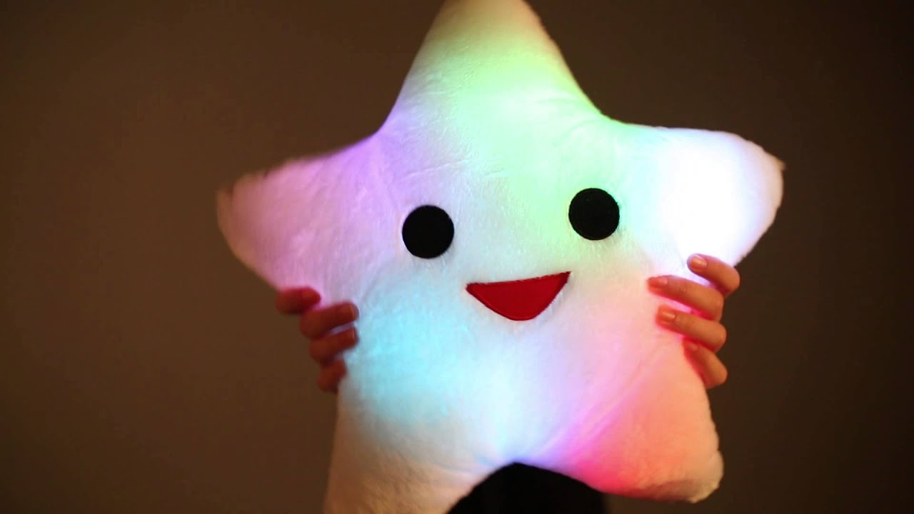 Happy Star Light Up Pillow - YouTube
