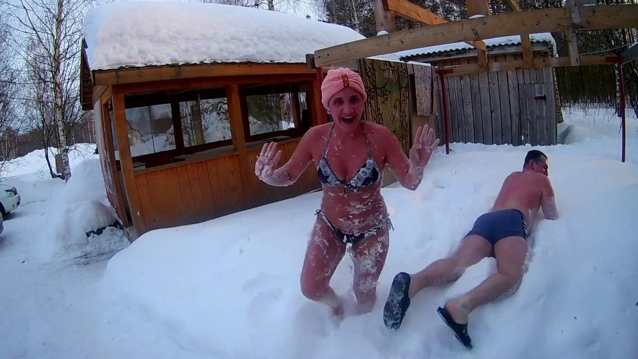 В снег после бани фото