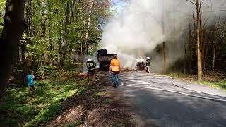 Pożar przyczepy w Przytkowicach