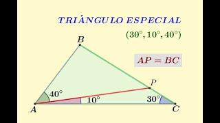 Triángulo especial 30°, 10°, 40° | Trazos auxiliares y construcciones en triángulos