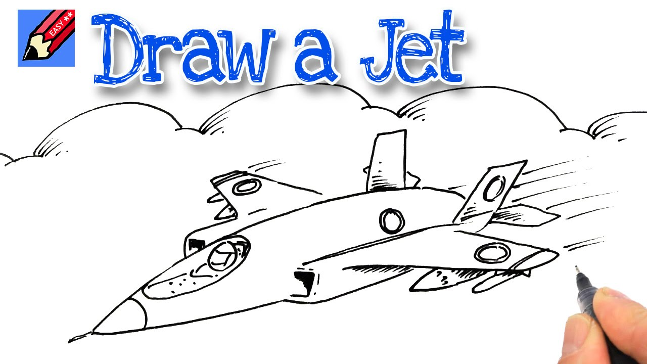 How to Draw a Jet Fighter Real Easy  YouTube
