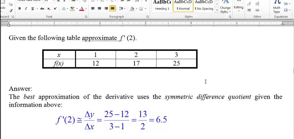 Problem 6 Derivative of a Table - Calculus Help ...
