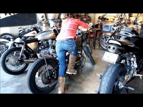 Girl Kick Starting A Harley Ironhead