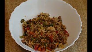 Рис с мясом и овощами в соусе Терияки.