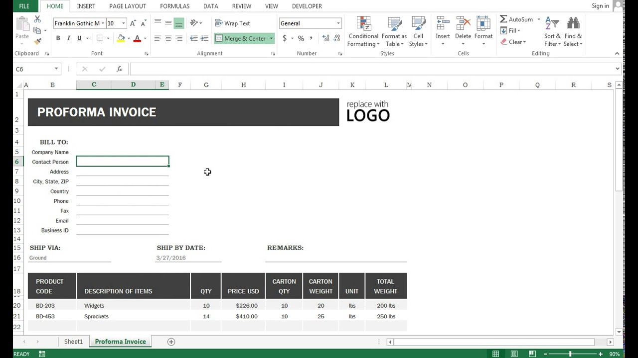 how to use excel 2013 - vlookup application in an invoice proforma, Simple invoice