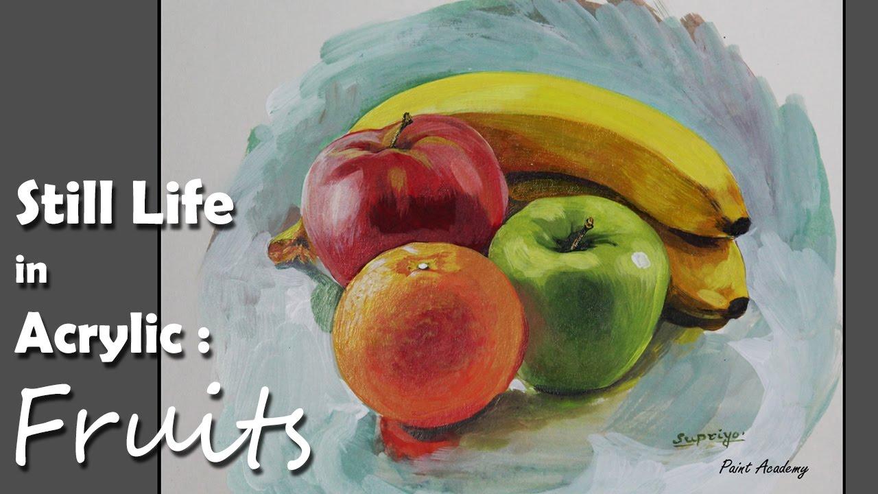 acrylic painting fruits step