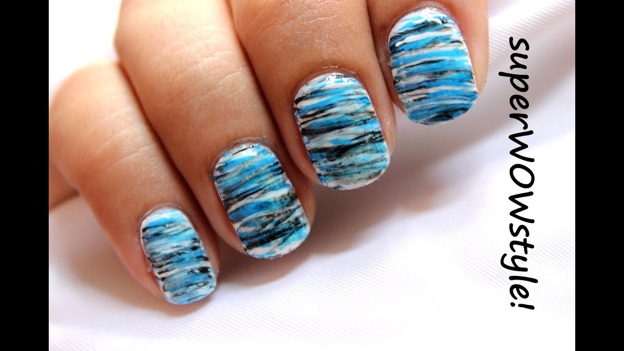 Cool Blue * Fanning Brush Easy Nail Designs For Beginners