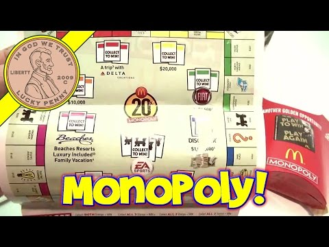 Mcdonalds Monopoly Game Board And Game Pieces