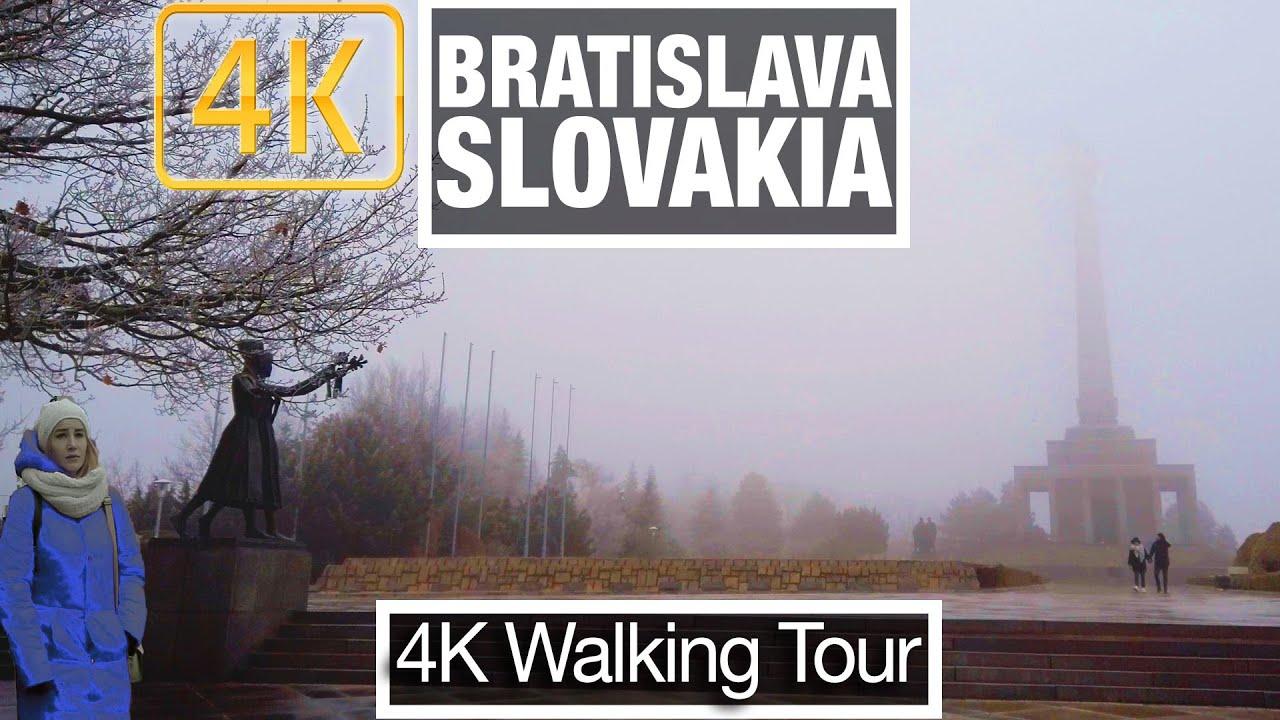 4K City Walks: Bratislava Slovakia - Slavin Memorial to Presidential Palace - Virtual Walk Treadmill