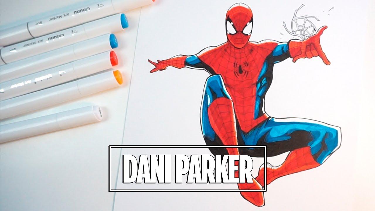 PINTANDO A SPIDER-MAN CON MARCADORES BARATOS - Ohuhu Markers | DANI PARKER