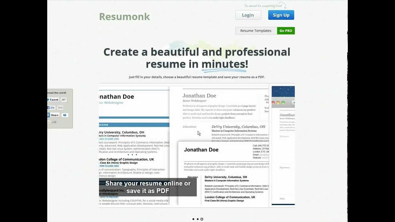 resumonk beautiful resumes in minutes youtube