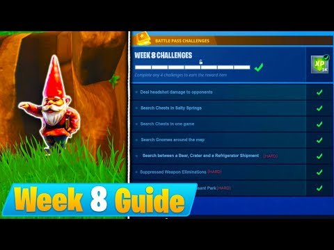Fortnite WEEK 8 CHALLENGES GUIDE! - HUNGRY GNOMES LOCATIONS, Treasure Map, All Chests (Season 4)