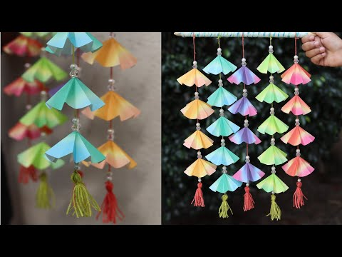 How to make paper wind chime - DIY easy wall hanging craft tutorial - Wall decoration ideas
