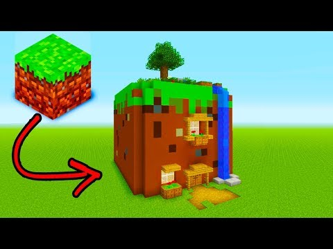 "Minecraft Tutorial: How To Live Inside a Grass Block In Minecraft ""Grass Block House"""