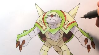 How to draw Brigaron/Chesnaught/ブリガロン [Pokemon X/Y] No #652