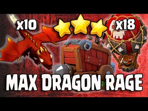 Awesome 10 Max Dragon Siege Machine 18 Max Balloon TH12 Push 3 STAR ATTACK STRATEGY 2018 Updated