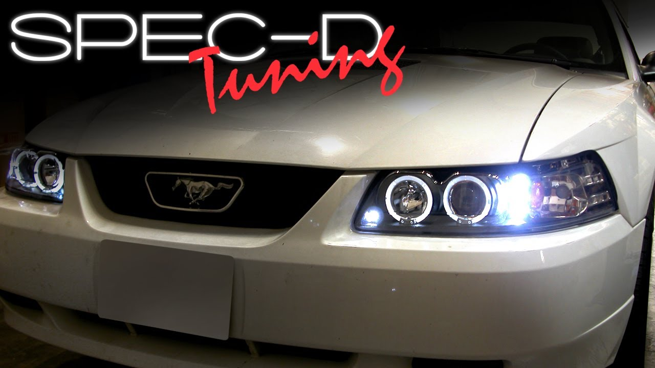 hight resolution of specdtuning installation video 1999 2004 mustang projector headlight installation video youtube