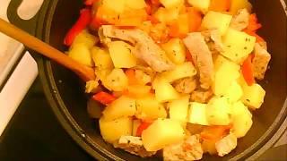 Тушеный картофель с мясом и овощами  Очень вкусный картофель