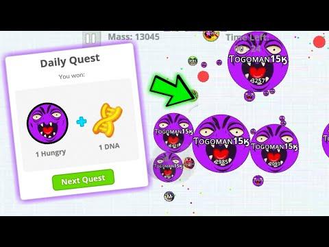 Agar.io mobile | unlocking HUNGRY QUEST SKIN | AGARIO BIRTHDAY SPECIAL QUEST SKIN agario mobile!